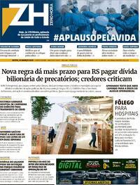 Capa do jornal Zero Hora 12/03/2021