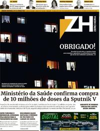 Capa do jornal Zero Hora 13/03/2021