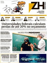 Capa do jornal Zero Hora 13/05/2021