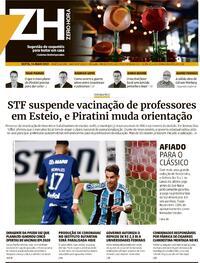 Capa do jornal Zero Hora 14/05/2021
