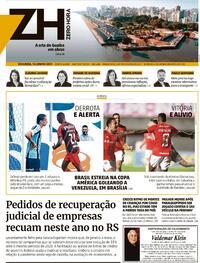 Capa do jornal Zero Hora 14/06/2021