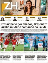 Capa do jornal Zero Hora 15/03/2021