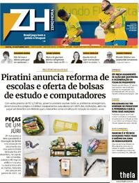 Capa do jornal Zero Hora 15/10/2021