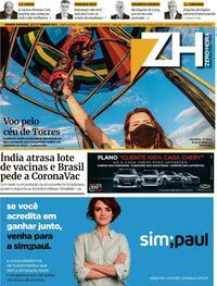 Capa do jornal Zero Hora 16/01/2021