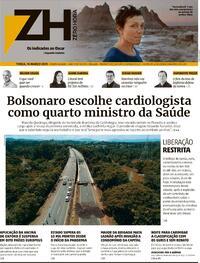Capa do jornal Zero Hora 16/03/2021