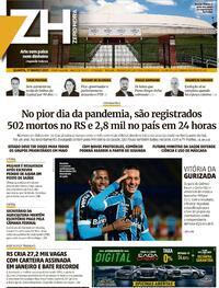 Capa do jornal Zero Hora 17/03/2021