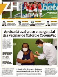 Capa do jornal Zero Hora 18/01/2021