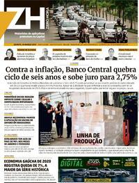 Capa do jornal Zero Hora 18/03/2021