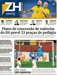 Capa do jornal Zero Hora 18/06/2021