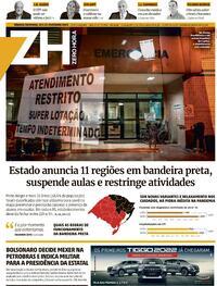 Capa do jornal Zero Hora 20/02/2021