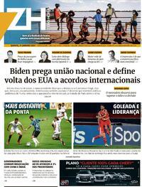 Capa do jornal Zero Hora 21/01/2021