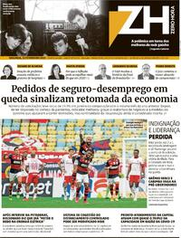 Capa do jornal Zero Hora 22/02/2021