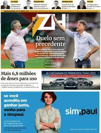 Capa do jornal Zero Hora 23/01/2021