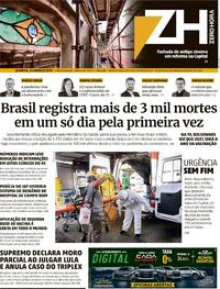 Capa do jornal Zero Hora 24/03/2021