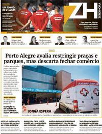 Capa do jornal Zero Hora 25/02/2021