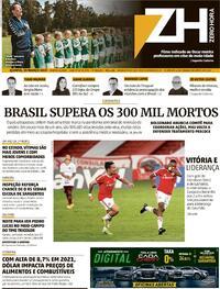 Capa do jornal Zero Hora 25/03/2021