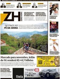 Capa do jornal Zero Hora 25/09/2021
