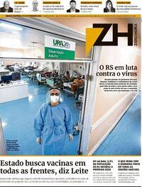 Capa do jornal Zero Hora 27/02/2021