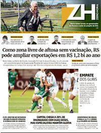 Capa do jornal Zero Hora 28/05/2021