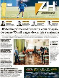 Capa do jornal Zero Hora 29/04/2021
