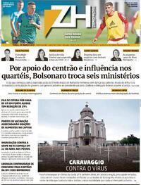 Capa do jornal Zero Hora 30/03/2021